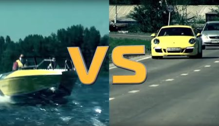 Porsche 911 Carrera 4S против катера Volzhanka